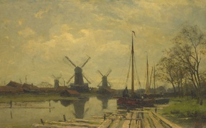 Picture landscape, oil, picture, canvas, The channel with the Fishing Boats in Amsterdam, Jan Hillebrand Wijsmuller