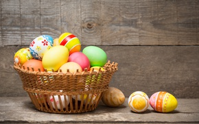 Picture basket, colorful, Easter, happy, wood, spring, Easter, eggs, holiday, basket, the painted eggs