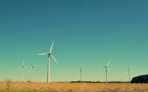 Picture sky, field, windmills