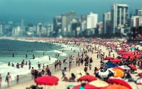 Picture beach, the ocean, tilt-shift, RIO