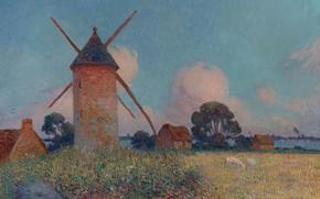 Wallpaper flowers, picture, Ferdinand du Puigaudeau, Ferdinand du Plegado, grass, Landscape with a Windmill, clouds