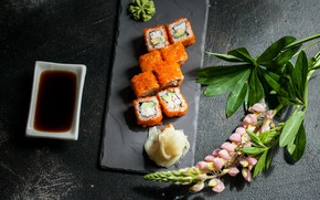 Picture flowers, rolls, soy sauce, Lupin