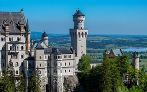 Picture castle, wall, panorama, tower, Neuschwanstein