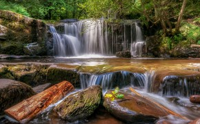 Picture forest, stones, waterfall, Wales, Llansantffraed