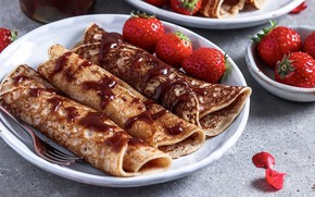Picture chocolate, strawberry, pancakes