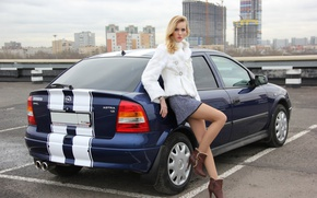 Picture auto, look, girl, Girls, Opel, Parking