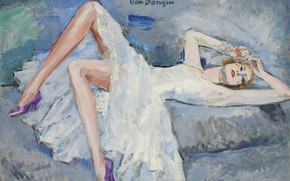 Picture oil, dress, blonde, canvas, 1921, Kees van Dongen, Purple shoes, the girl on the bed