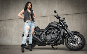 Picture jeans, motorcycle, legs, Yamaha