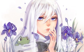 Picture face, hand, frog, petals, chain, girl, white background, blue eyes, irises, by Fuwaffy