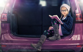 Picture auto, glasses, girl, book, cap, Be careful if she's reading