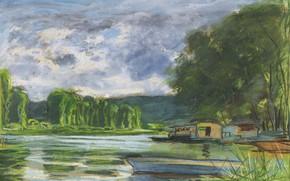 Picture landscape, river, boat, picture, Claude Monet, Claude Monet, The banks of the Seine near Reposa