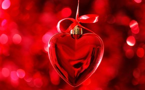 Picture red, glare, background, toy, heart, Valentine's day, ribbon, bokeh
