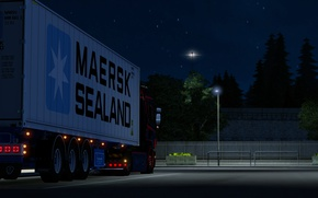 Picture Power, Front, night, parking, Scania, R620, Trailer, Diesel, Face, Low, maersk, LED, LEDs, elsa3dany1design, tail …