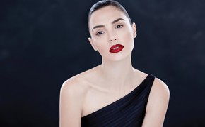 Picture portrait, actress, red lipstick, Gal Gadot
