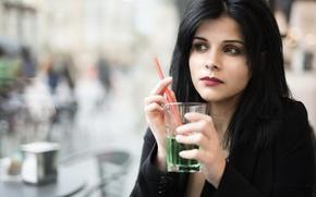 Picture face, glass, model, drink, Leonella