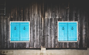 Picture wall, Board, Windows, shutters, anchor, symmetry, anchor, x2