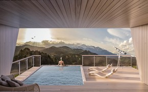 Picture mountains, pool, telescope, the room, Particula Observatory Houses YAC Competition