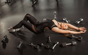 Picture girl, sport, figure, health, lesson, weights