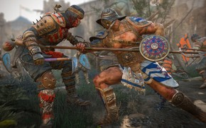 Wallpaper game, gladiator, man, For Honor, samurai, shield, spear, weapon, blood, japonese, armor