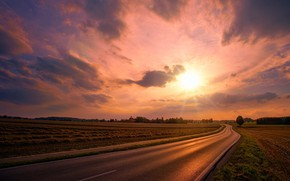 Picture road, field, the sun, clouds, rays, light, trees, landscape, sunset, field, the evening, highway, space, …