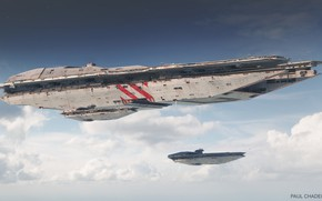 Picture the sky, clouds, ships, escort, Mothership Escort