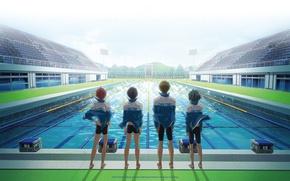 Picture the sky, lights, perspective, pool, four, team, friends, tribune, sports wear, free, nanase haruka, tachibana …