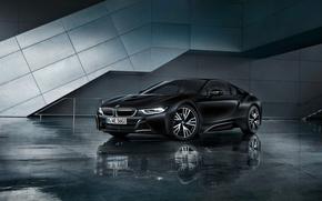 Picture car, BMW, logo, supercar, black, technology, BMW I8