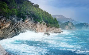 Picture sea, mountains, rocks, coast, surf, Montenegro