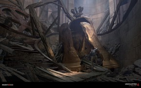 Picture the wreckage, man, ruins, Bell, Uncharted 4
