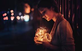 Picture girl, light, night, lights, Bank, bokeh