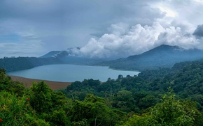 Picture forest, clouds, mountains, fog, lake, tropics, jungle, Indonesia, Bali