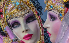 Picture mirror, mask, Venice, carnival