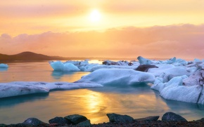 Picture reflection, The sun, Water, Earth, Dawn, ice, Ice, Sparks, Couples, Glare, Arctic, Flashes, Lifelessness