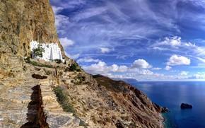 Picture sea, rocks, Greece, the monastery, the island of Amorgos, Panagia Hozoviotissa