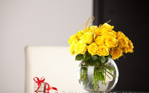 Picture table, gift, roses, yellow, vase
