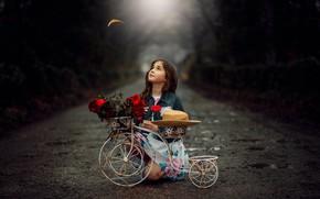 Picture road, flowers, bike, child, girl, girl, road, bike, flowers, child