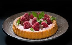 Picture raspberry, food, chocolate, pie, mint, cream, dessert, cakes, sweet