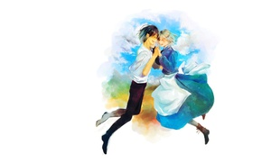Picture clouds, love, happiness, white background, weightlessness, howl's moving castle, apron, closed eyes, blue dress, white …