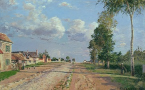 Picture landscape, street, home, picture, Camille Pissarro, The road to Versailles. Rockinger