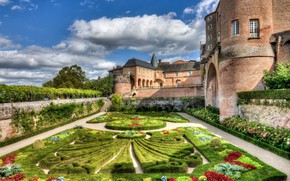 Picture castle, France, flowerbed, Walled Gardens of Albi