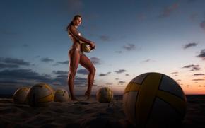 Wallpaper balls, Beach volleyball, sand, sunset