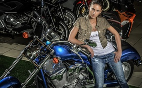 Picture look, girl, pose, motorcycles, jeans, Mike, figure, brunette, jacket, bike