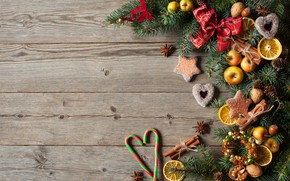 Picture decoration, berries, balls, apples, tree, New Year, cookies, Christmas, hearts, fruit, nuts, Christmas, wood, hearts, …