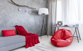 Picture red, grey, sofa, interior, silk, House