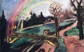 Picture river, 1942, Vanguard, Expressionism, Max Beckmann, and rainbow, Railway bridge
