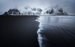 Picture winter, sea, beach, snow, mountains, nature, Iceland