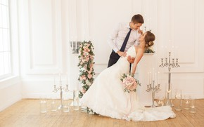 Picture girl, love, joy, flowers, smile, bouquet, candles, dress, guy, the bride, wedding, flowers, the groom, …