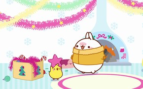 Picture holiday, toys, anime, art, New year, fireplace, tinsel, Bunny, asterisk, children's, kodomo no hi, Malang