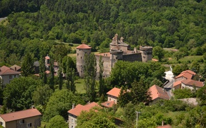 Picture France, Home, Panorama, Castle, Roof, France, Castle, Panorama, Auvergne, Auvergne, Saint-Vidal, Saint-Vidal