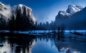 Wallpaper landscape, mist, nature, sky, water, trees, reflection, winter, photography, lake, forest, snow, rocks, Mountains